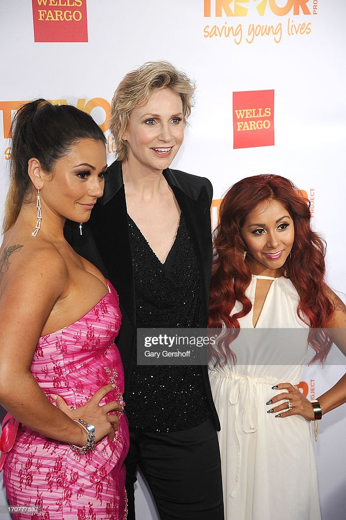 Event host Jane Lynch (C) and TV personalities Jenni 'JWoww' Farley (L) and Nicole 'Snooki' Polizzi attendTrevorLIVE New York at Pier Sixty at Chelsea Piers on June 17, 2013 in New York City.