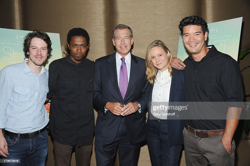 Event host, NBC Nightly News anchor <a gi-track='captionPersonalityLinkClicked' href=/galleries/search?phrase=Brian+Williams+-+News+Anchor&family=editorial&specificpeople=206917 ng-click='$event.stopPropagation()'>Brian Williams</a> (C) with (L-R) actors John Gallagher Jr., Keith Stanfield, <a gi-track='captionPersonalityLinkClicked' href=/galleries/search?phrase=Brie+Larson&family=editorial&specificpeople=171226 ng-click='$event.stopPropagation()'>Brie Larson</a> and director Destin Daniel Cretton attend the 'Short Term 12' New York Special Screening at Dolby 88 Theater on July 16, 2013 in New York City.