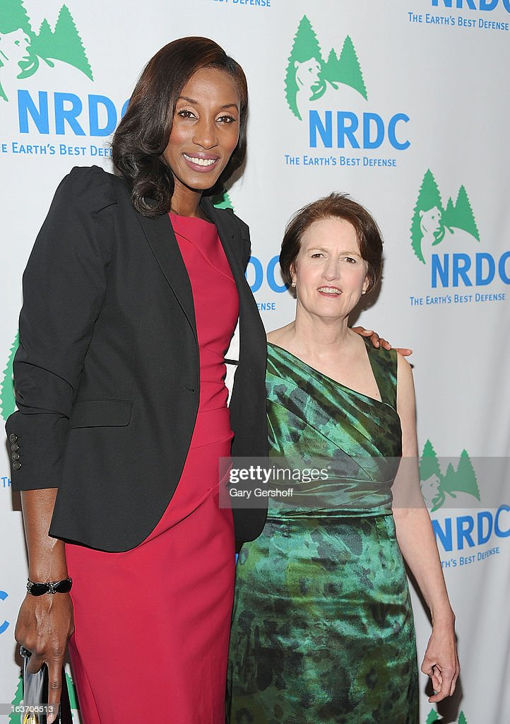 Event host, Olympic gold medalist <a gi-track='captionPersonalityLinkClicked' href=/galleries/search?phrase=Lisa+Leslie&family=editorial&specificpeople=202228 ng-click='$event.stopPropagation()'>Lisa Leslie</a> (L) and NRDC president Frances Beinecke attend the 2013 National Resource Defense Council Game Changer Awards at the Mandarin Oriental Hotel on March 14, 2013 in New York City.