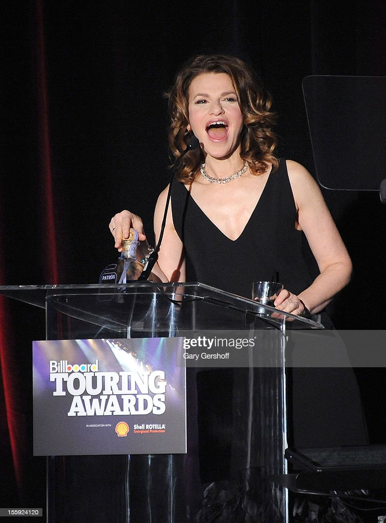 Event host Sandra Bernhard speaks on stage at the 2012 Billboard Touring Awards at The Roosevelt Hotel on November 8, 2012 in New York City.