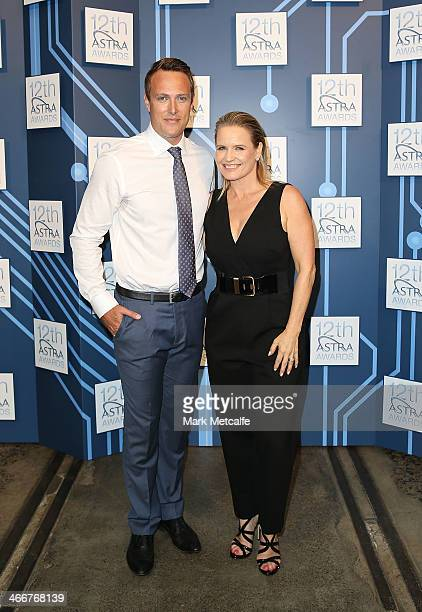 Event hosts Shaynna Blaze and Matt Shirvington pose during a media call to announce nominees and voting open of the 12th Annual ASTRA Awards at The...