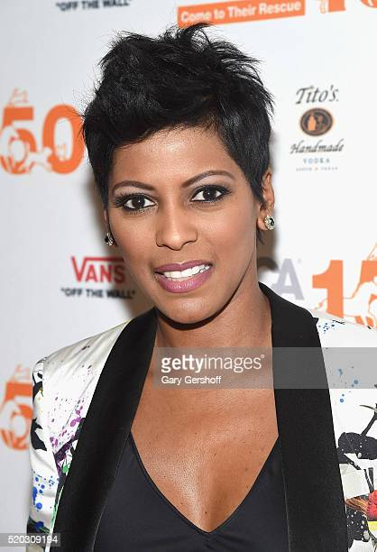 Event moderator Tamron Hall attends the 'Second Chance Dogs' screening in honor of ASPCA's 150th Anniversary at The House of Vans on April 10 2016 in...