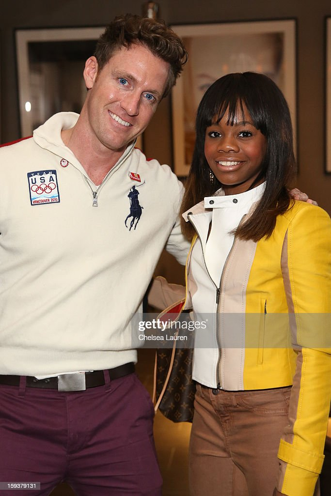 Event organizer Charley Walters (L) and Olympic gymnast <a gi-track='captionPersonalityLinkClicked' href=/galleries/search?phrase=Gabby+Douglas&family=editorial&specificpeople=8465211 ng-click='$event.stopPropagation()'>Gabby Douglas</a> attend CW3PR Presents 'Gold Meets Golden' at Equinox Sports Club on January 12, 2013 in Los Angeles, California.