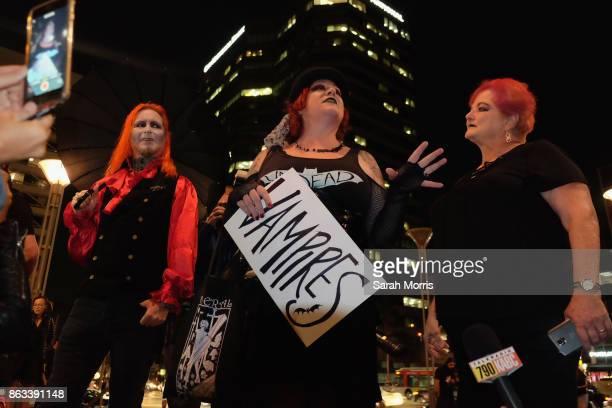 Event organizer Mary Soracco speaks at the Tom Petty Memorial Vampire Walk down Ventura Blvd on October 19 2017 in Sherman Oaks California