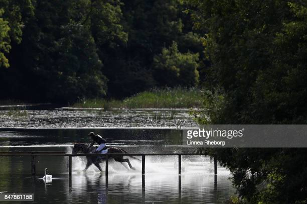 Event rider Tom Rowland of Great Britain riding Possible Mission in the cross country discipline of day three of Blenheim Palace International Horse...