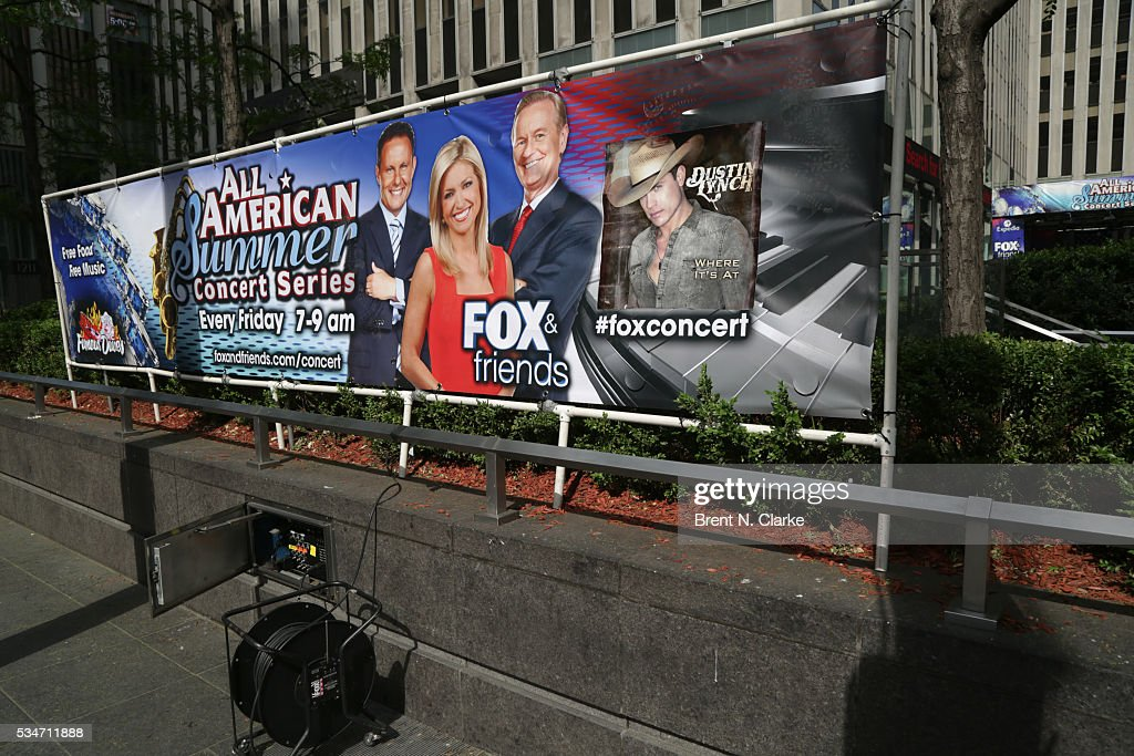 Event signage is seen prior to recording artist Dustin Lynch's live performance at the 'FOX & Friends' All American Concert Series outside of FOX Studios on May 27, 2016 in New York City.