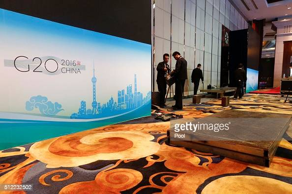 Event staff make preparations ahead of the G20 Finance Ministers and Central Bank Governors Meeting at the Pudong Shangrila Hotel on February 25 2016...