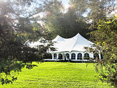 tent set up in the early morning on day of a wedding