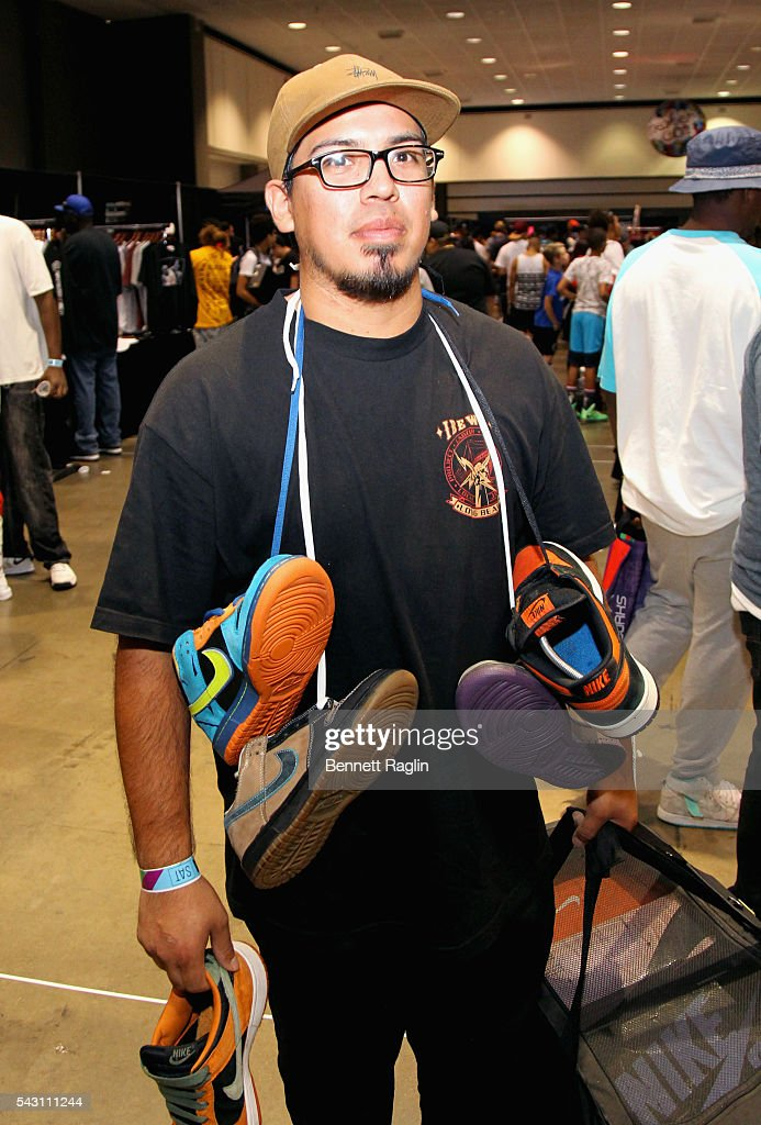 Event-goer attends SneakerCon presented by Sprite, Rush Card, & FDA during the 2016 BET Experience at Los Angeles Convention Center on June 25, 2016 in Los Angeles, California.