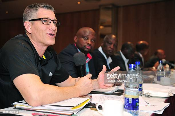 Events and Competitions Director Paul Hard speaks during an antidoping meeting on February 13 2015 in Nairobi Kenya has partnered with Chinese and...