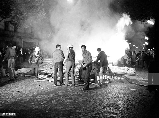 Events of May 68 Fire in a street of Paris May 25 1968