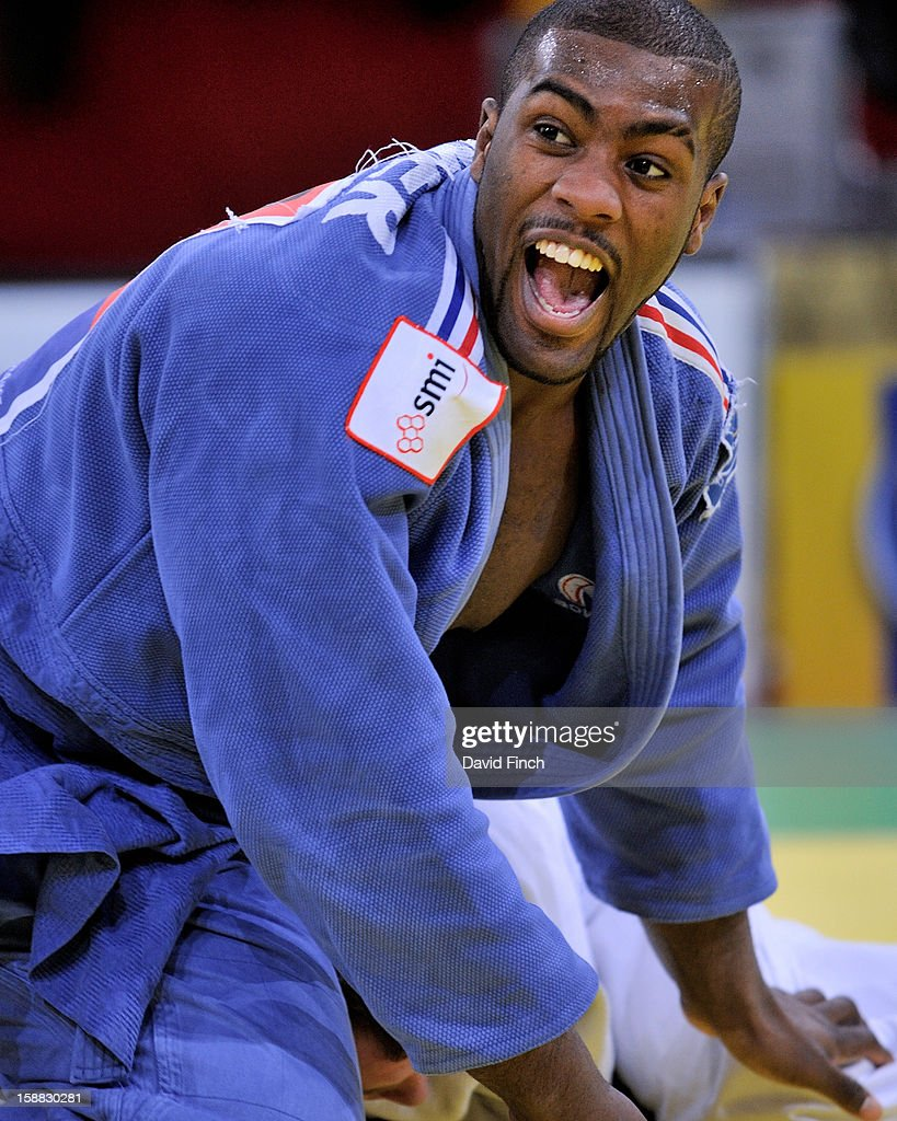 Eventual champion and double World champion Teddy Riner of France screams with joy after strangling Jose de Mingo of Spain into submission for ippon (10 points) during the heavyweight eliminations at the Paris Tournament on day 2, Sunday, February 10, 2008 at the Palais Omnisports de Paris Bercy Sports Arena, Bercy, Paris, France.