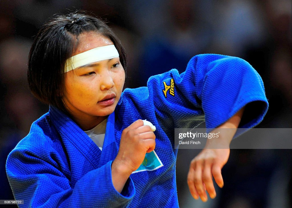Eventual gold medallist Otgontsetseg Galbadrakh of Kazakhstan defends during the u48kg final at the 2016 Paris Judo Grand Slam on February 6 2016 at...