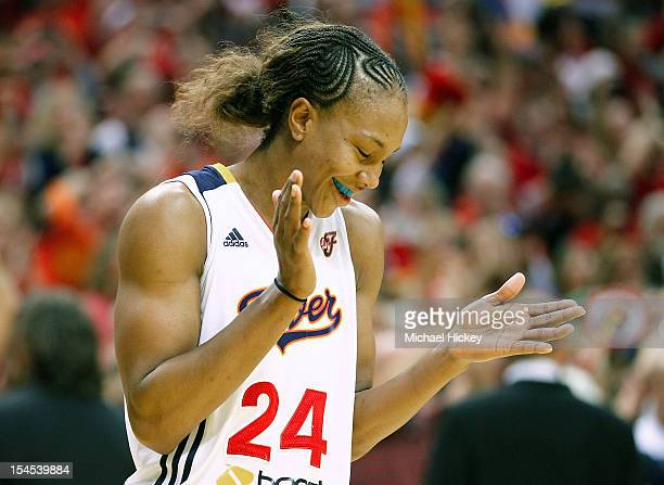 Eventual MVP Tamika Catchings of the Indiana Fever reacts in the closing seconds against the Minnesota Lynx during Game Four of the 2012 WNBA Finals...