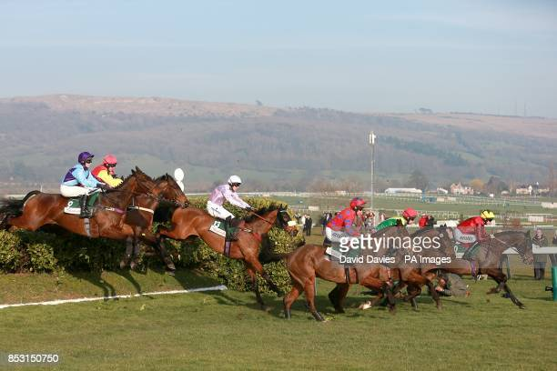 Eventual winner Balthazar King in action in the early stages of the Glenfarclas Handicap Chase on Ladies Day during the Cheltenham Festival