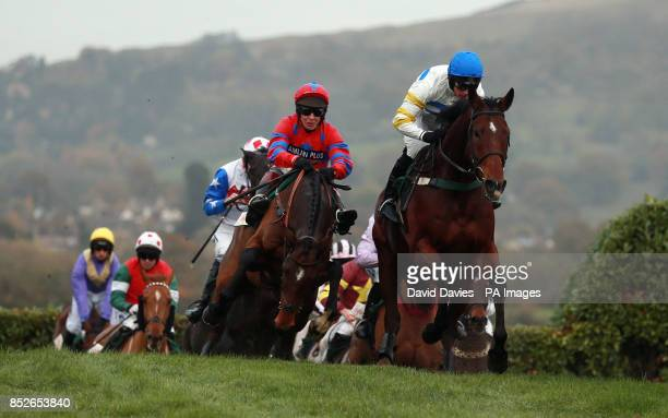 Eventual winner Balthazar King ridden by Richard Johnson follows Zest For Life ridden by Nina Carberry in the Glenfarclas Cross Country Chase during...