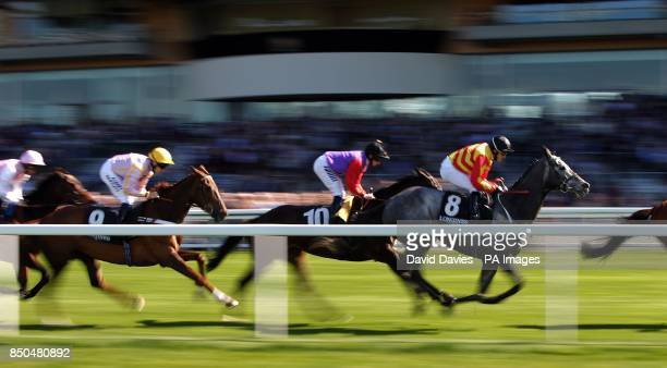 Eventual winner Estimate ridden by Ryan Moore follows Sir Graham Wade ridden by Kieren Fallon in the Longines Sagaro Stakes during the Free Raceday...