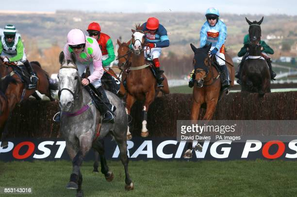 Eventual winner Western Warhorse ridden by Tom Scudamore is a long way back from early front runner Champagne Fever ridden by Ruby Walsh who finished...