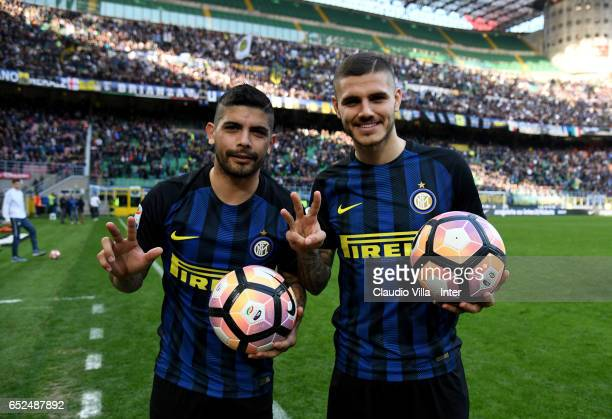 Ever Banega and Mauro Icardi of FC Internazionale celebrate at the end of the Serie A match between FC Internazionale and Atalanta BC at Stadio...