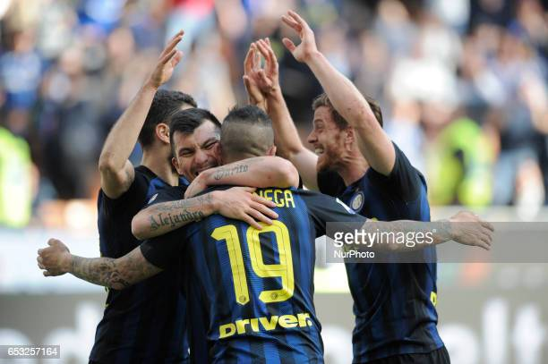 Ever Banega Antonio Candreva Gary Medel and Cristian Ansaldi of Inter during the Serie A match between FC Internazionale and Atalanta at Stadio...