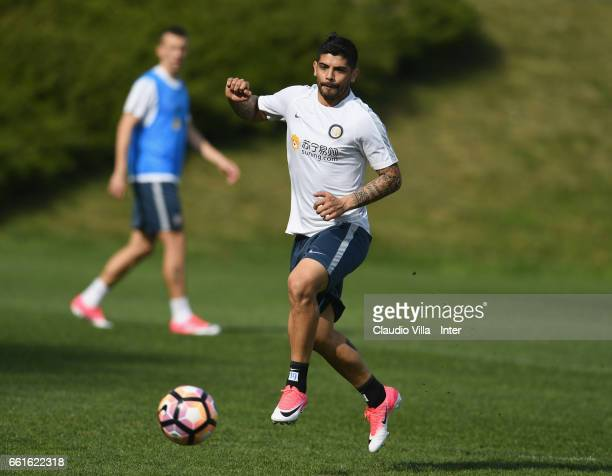 Ever Banega in action during FC Internazionale training session at Suning Training Center at Appiano Gentile on March 31 2017 in Como Italy