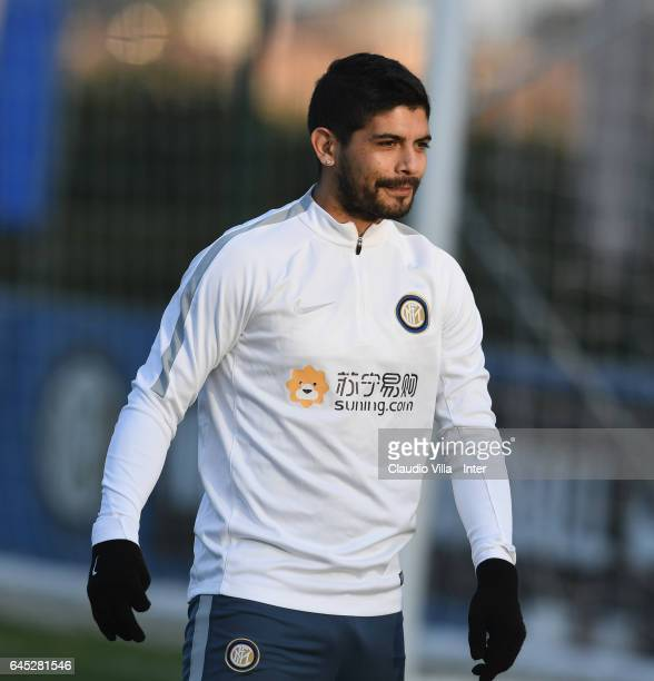 Ever Banega looks on during a FC Internazionale training session at Suning Training Center at Appiano Gentile on February 25 2017 in Como Italy