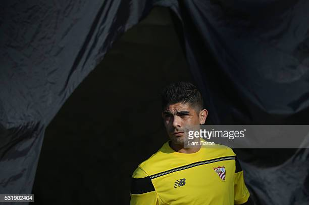 Ever Banega looks on during a Sevilla training session on the eve of the UEFA Europa League Final against Liverpool at St JakobPark on May 17 2016 in...