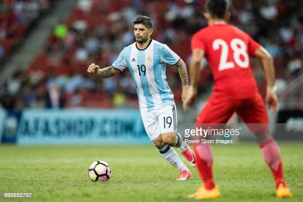 Ever Banega of Argentina in action during the International Test match between Argentina and Singapore at National Stadium on June 13 2017 in...