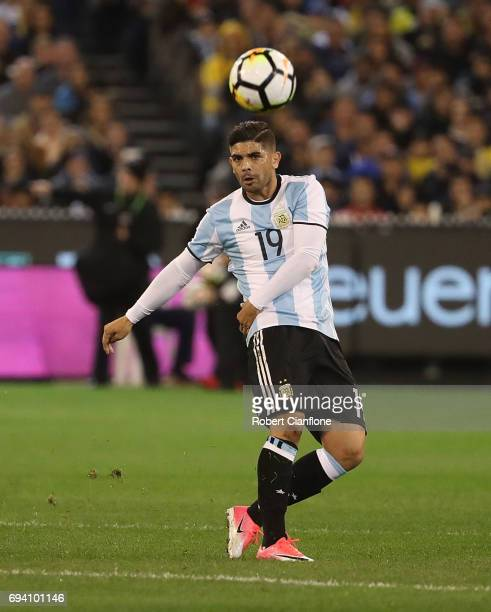 Ever Banega of Argentina kicks the ball during the Brazil Global Tour match between Brazil and Argentina at Melbourne Cricket Ground on June 9 2017...