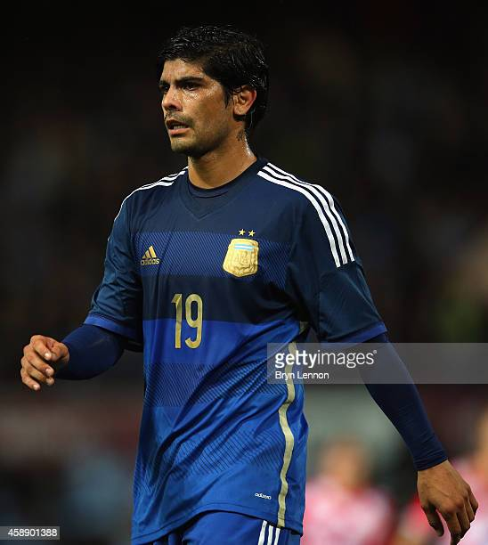 Ever Banega of Argentina looks on during the International Friendly between Argentina and Croatia at Boleyn Ground on November 12 2014 in London...
