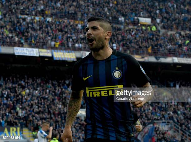 Ever Banega of FC Internazionale celebrates after scoring the fifth goal during the Serie A match between FC Internazionale and Atalanta BC at Stadio...