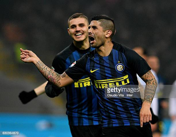 Ever Banega of FC Internazionale celebrates after scoring the opening goal during the Serie A match between FC Internazionale and SS Lazio at Stadio...