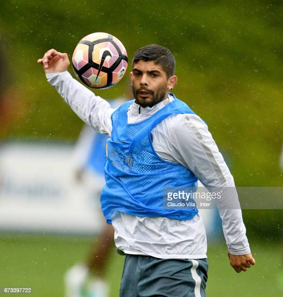 Ever Banega of FC Internazionale in action during FC Internazionale training session at Suning Training Center at Appiano Gentile on April 26 2017 in...