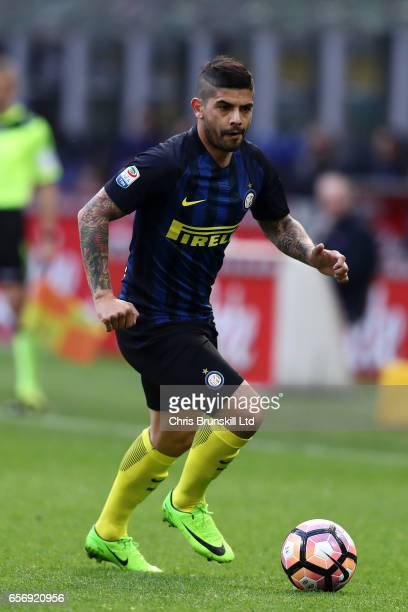 Ever Banega of FC Internazionale in action during the Serie A match between FC Internazionale and Atalanta BC at Stadio Giuseppe Meazza on March 12...