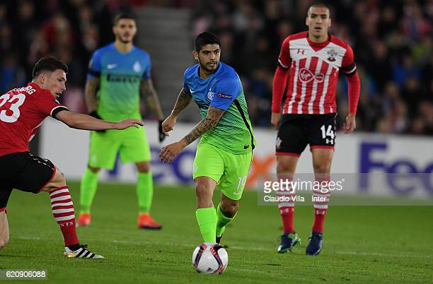 Ever Banega of FC Internazionale in action during the UEFA Europa League match between Southampton FC and FC Internazionale Milano at St Mary's...