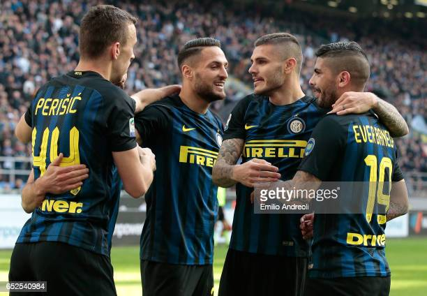 Ever Banega of FC Internazionale Milano celebrates his first goal with his teammate Mauro Emanuel Icardi and Danilo D Ambrosio during the Serie A...