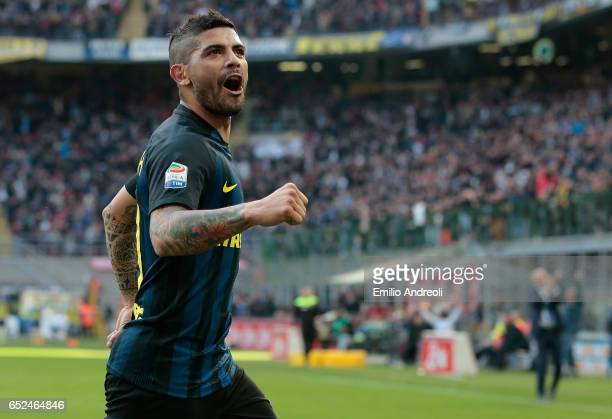 Ever Banega of FC Internazionale Milano celebrates his second goal during the Serie A match between FC Internazionale and Atalanta BC at Stadio...