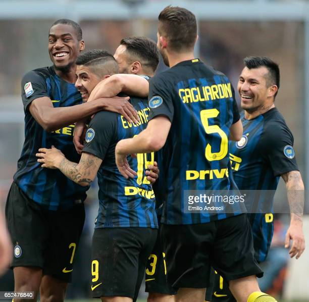 Ever Banega of FC Internazionale Milano celebrates his third goal with his teammates during the Serie A match between FC Internazionale and Atalanta...