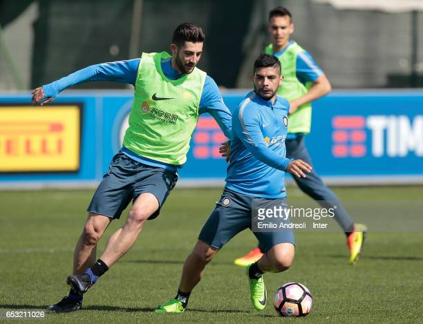 Ever Banega of FC Internazionale Milano competes for the ball with Roberto Gagliardini of FC Internazionale Milano during the FC Internazionale...