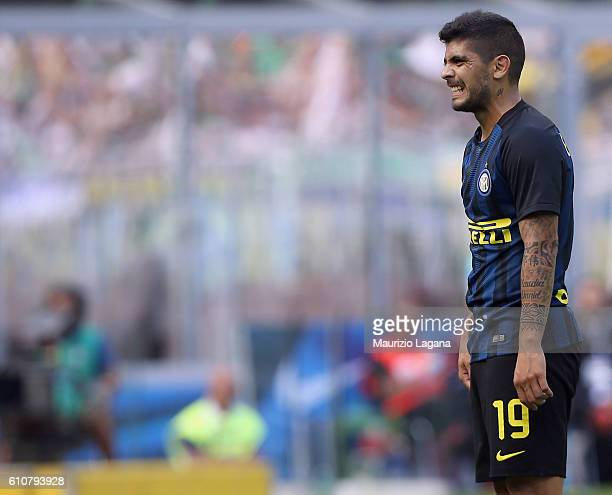 Ever Banega of Inter during the Serie A match between FC Internazionale and Bologna FC at Stadio Giuseppe Meazza on September 25 2016 in Milan Italy