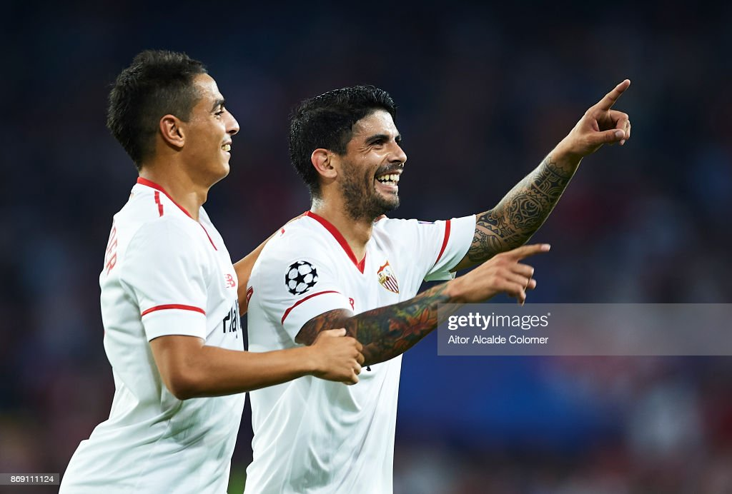 Ever Banega of Sevilla FC (R) celebrates after scoring the second goal for Sevilla FC with Wissam Ben Yedder of Sevilla FC (L) during the UEFA Champions League group E match between Sevilla FC and Spartak Moskva at Estadio Ramon Sanchez Pizjuan on November 1, 2017 in Seville, Spain.