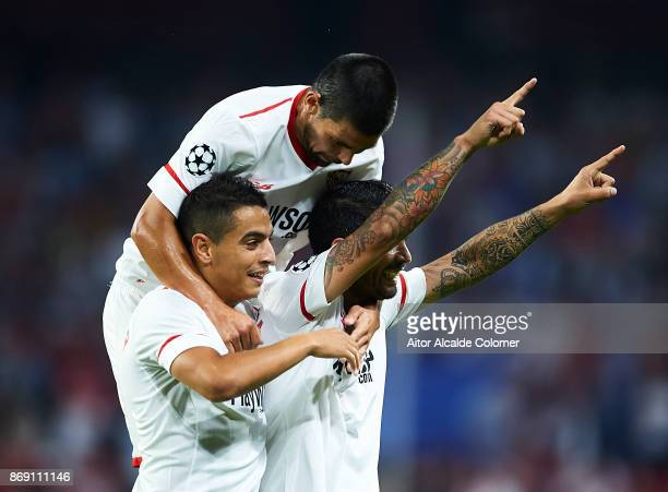 Ever Banega of Sevilla FC celebrates after scoring the second goal for Sevilla FC with Manuel Agudo 'Nolito' of Sevilla FC and Wissam Ben Yedder of...