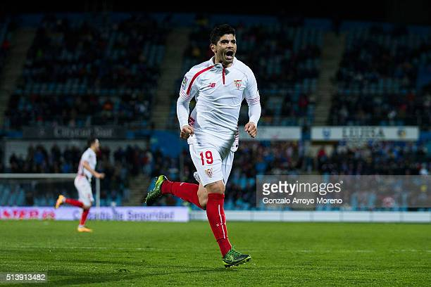 Ever Banega of Sevilla FC celebrates scoring their opening goal during the La Liga match between Getafe CF and Sevilla CF at Coliseum Alfonso Perez...