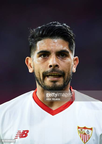 Ever Banega of Sevilla FC looks on during a Pre Season Friendly match between Sevilla FC and AS Roma at Estadio Ramon Sanchez Pizjuan on August 10...
