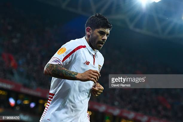 Ever Banega of Sevilla FC looks on during the UEFA Europa League quarter final first leg match between Athletic Bilbao and Sevilla at San Mames...