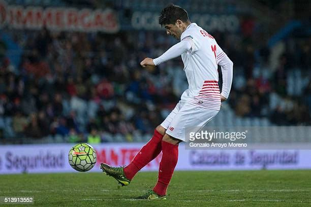 Ever Banega of Sevilla FC scores their opening goal during the La Liga match between Getafe CF and Sevilla CF at Coliseum Alfonso Perez on March 5...
