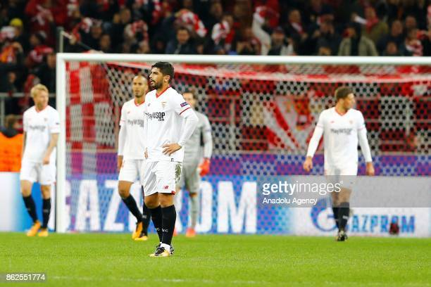 Ever Banega of Sevilla is seen dejected after the goal of Spartak Moscow during the UEFA Champions League match between Spartak Moscow and Sevilla FC...