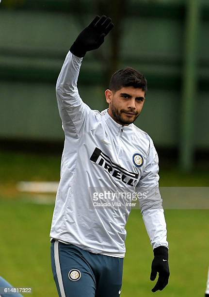 Ever Banega reacts during the FC Internazionale training session at the club's training ground at Appiano Gentile on October 15 2016 in Como Italy