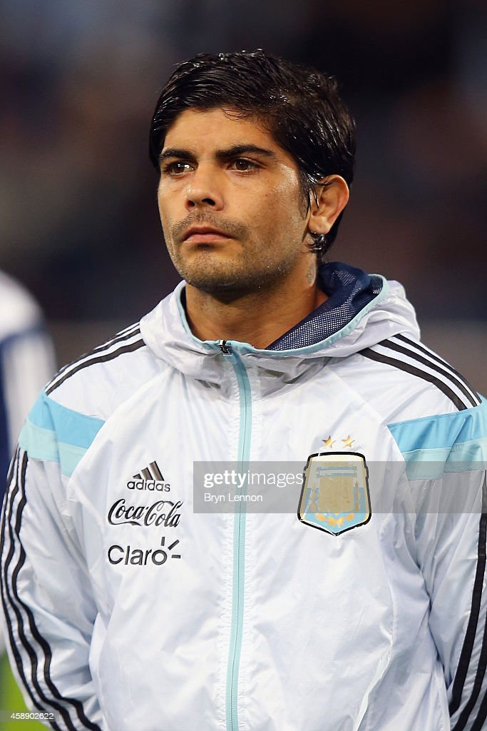 Ever Banego of Argentina stands during the playing of national anthems prior to the International Friendly between Argentina and Croatia at Boleyn Ground on November 12, 2014 in London, England.