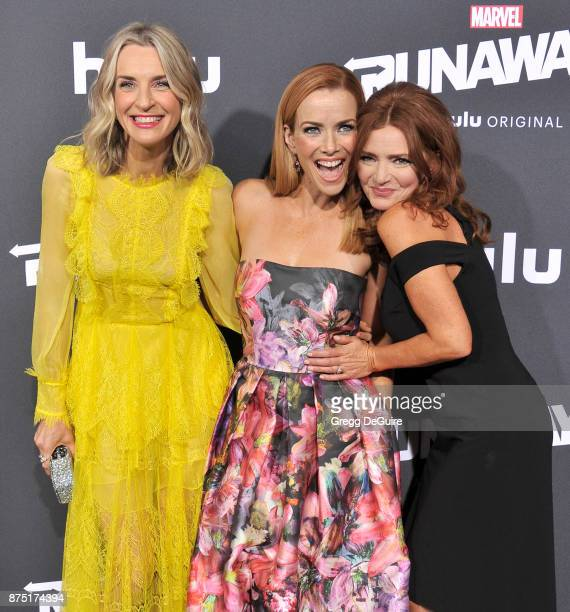 Ever Carradine Annie Wersching and Brigid Brannagh arrive at the premiere of Hulu's 'Marvel's Runaways' at Regency Bruin Theatre on November 16 2017...